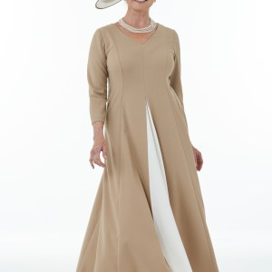 Camel and ivory panelled dress with contrast front inset