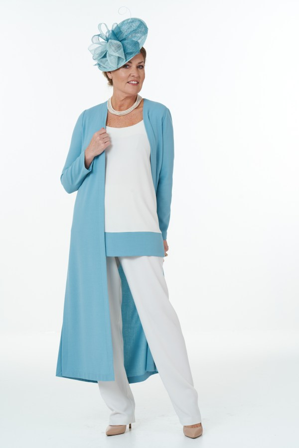 Duck egg and ivory trouser outfit-Main