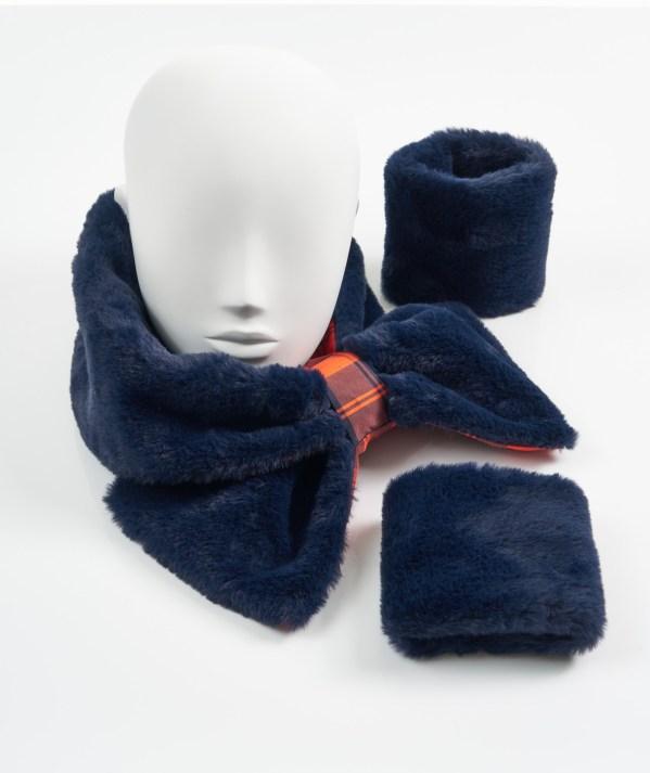 Navy and Orange Tartan Faux Fur Collar and Cuffs