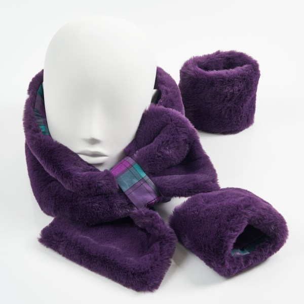 Purple and By Storm Tartan faux Fur Collar and Cuffs