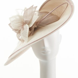 Pebble and Ivory Large Double Brim Hat
