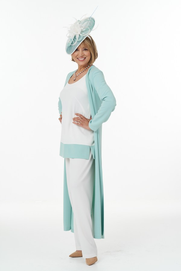 Mint and ivory trouser outfit
