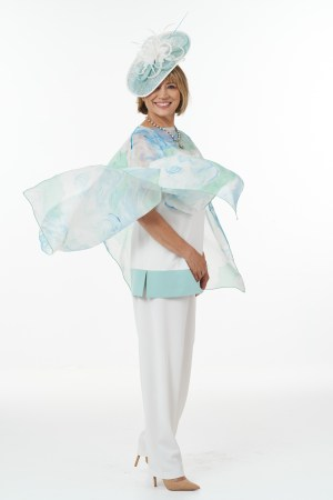 Mint and ivory fine art scarf outfit