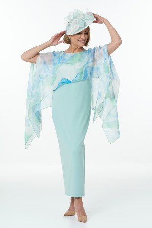 Mint straight dress with side slits and Fine Art Silk Scarf