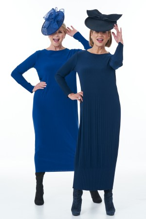 Navy and royal Pleated dresses
