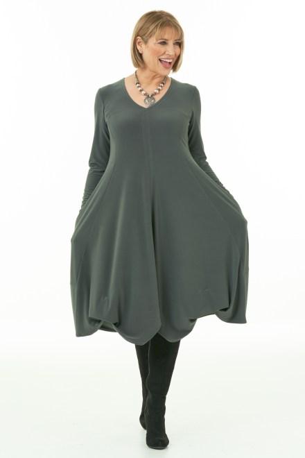 Olive Long Sleeve Knit Bubble Dress
