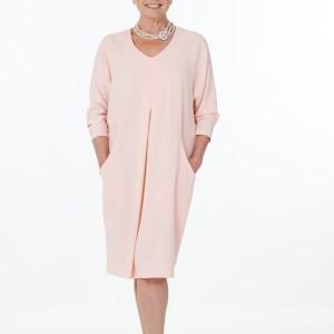 Pink V Neck Dolman Neck Dress