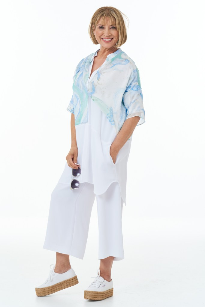 White Trousers and Tunic with Fine Art Silk Top