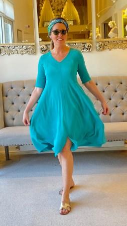 Janice wearing Short Sleeved Waffle Bubble Dress in Jade