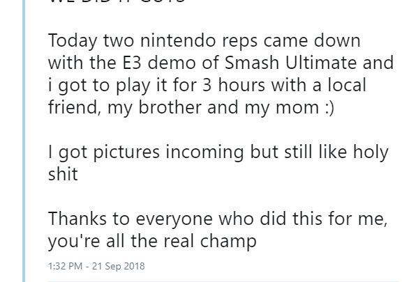 UPDATE: Happy End; Chris Taylor Gets to Play Smash Bros. Ultimate E3 Demo We did it! We came through! Our constant efforts worked!!