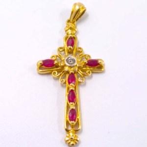 Cruz oro y rubí
