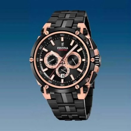 Reloj Festina F20329/1 de hombre NEW con caja de acero ip oro rosa y correa de resina Chrono Bike 2017