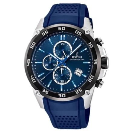 Reloj Festina F20330/2 de hombre NEW con caja de acero y correa de resina azul Cronógrafo The Originals