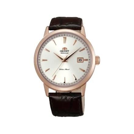 Reloj Orient FER27003W0 de hombre NEW con caja de acero oro rosa de 18 kilates y correa de piel Meccanico