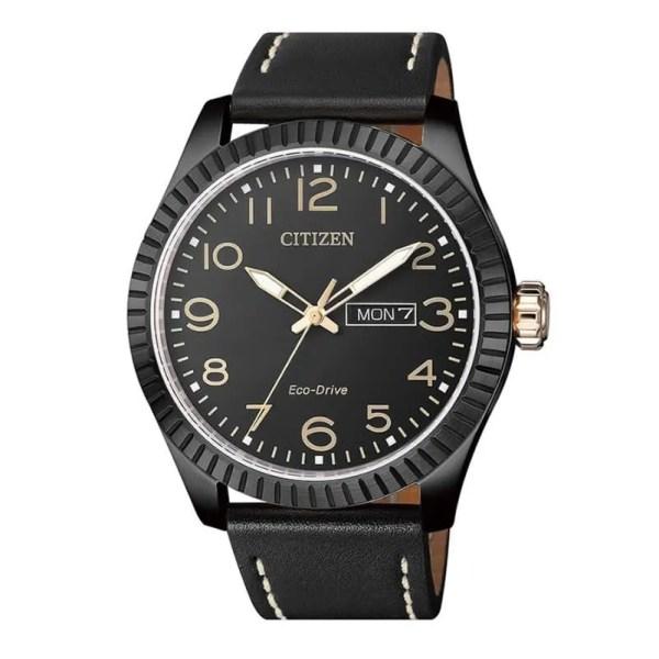Reloj Citizen BM8538-10E de hombre NEW con caja de acero ip black y correa de piel negra Urban Eco-Drive