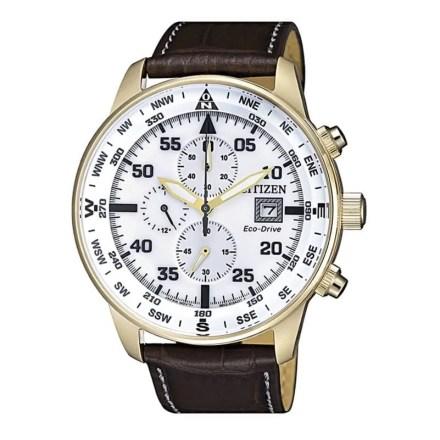 Reloj Citizen CA0693-12A de hombre NEW con caja de acero ip chapado en oro y correa de piel Crono Aviator