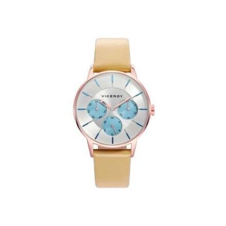 Reloj Viceroy 471162-17 de mujer NEW con caja de acero rosa y correa de piel marrón colección Collours