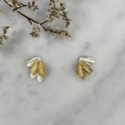 Pendientes de plata hojas bicolor