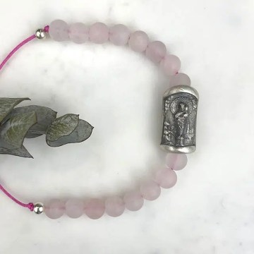 pulsera Virgen Pilar cuarzo rosa mate natural
