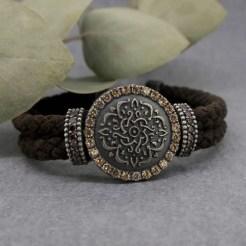 pulsera de plata y cuero mandala