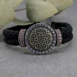 pulsera plata y cuero mandala mujer