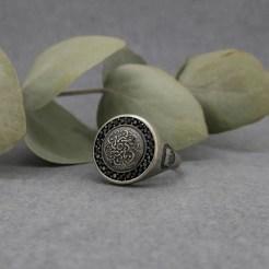 sello plata Hoi An zirconitas negro