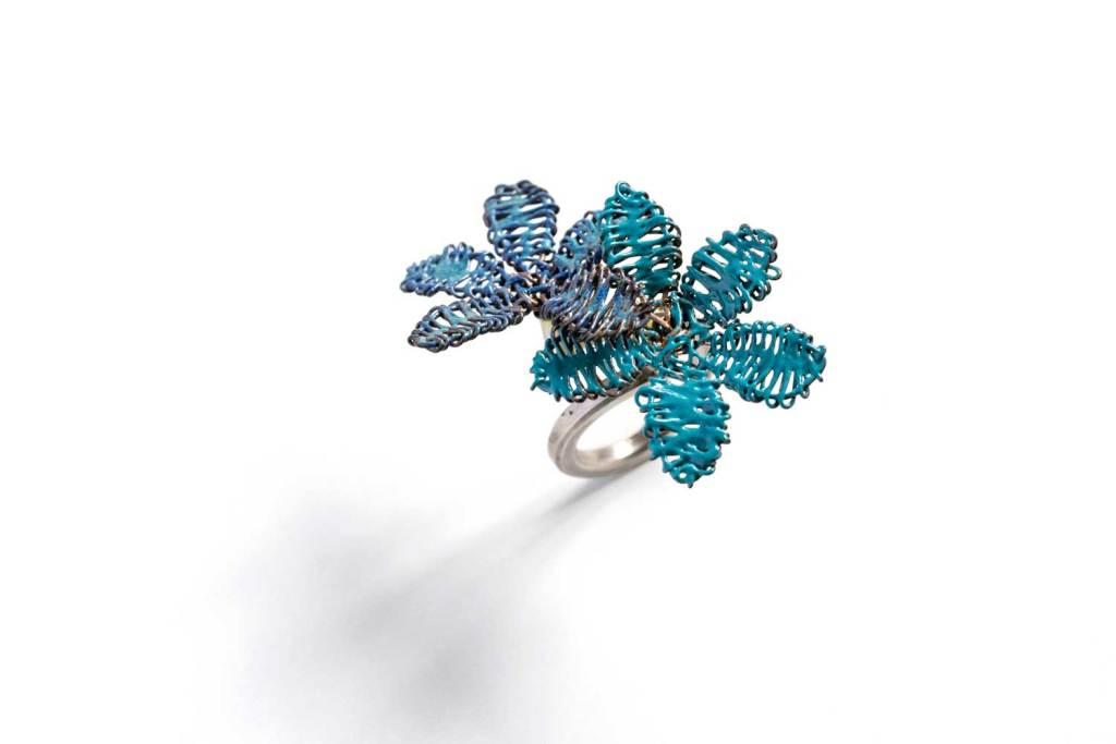 Anillo ¨Alma en flor ¨ Azules