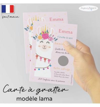 carte a gratter invitation anniversaire lama