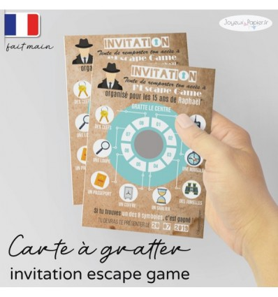 invitation escape game carte a gratter personnalisee