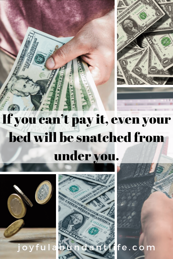 You cannot pay the sin debt on credit, neither can you buy your Salvation We can never pay the debt for sin. You can't go through life thinking that you can do enough good things to pay for you sins, therefore you will be allowed to enter heaven one day.