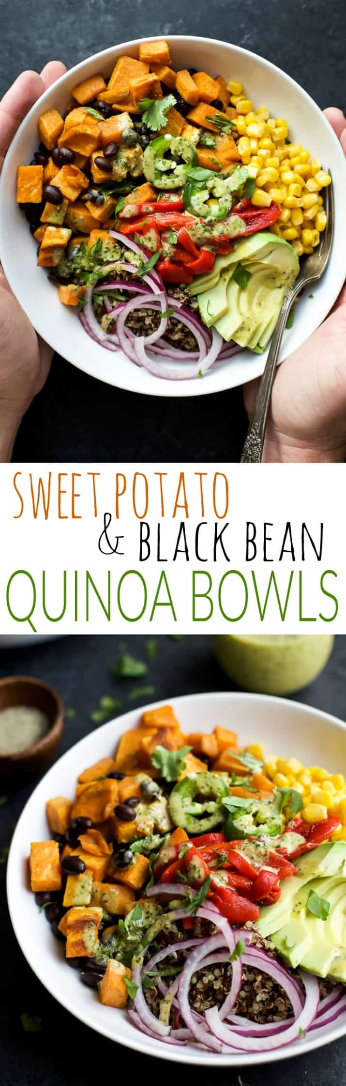 Easy SWEET POTATO BLACK BEAN QUINOA BOWLS topped with a zesty Cilantro Dressing you'll want to pour all over. A fresh vegetarian meal that will satisfy even those meat lovers! | joyfulhealthyeats.com #glutenfree