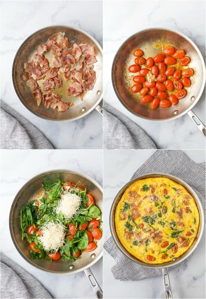 process photos of how to make a prosciutto spinach fritata
