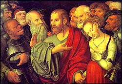 Lucas Cranach the Younger. Christ and the Woman Taken in Adultery.