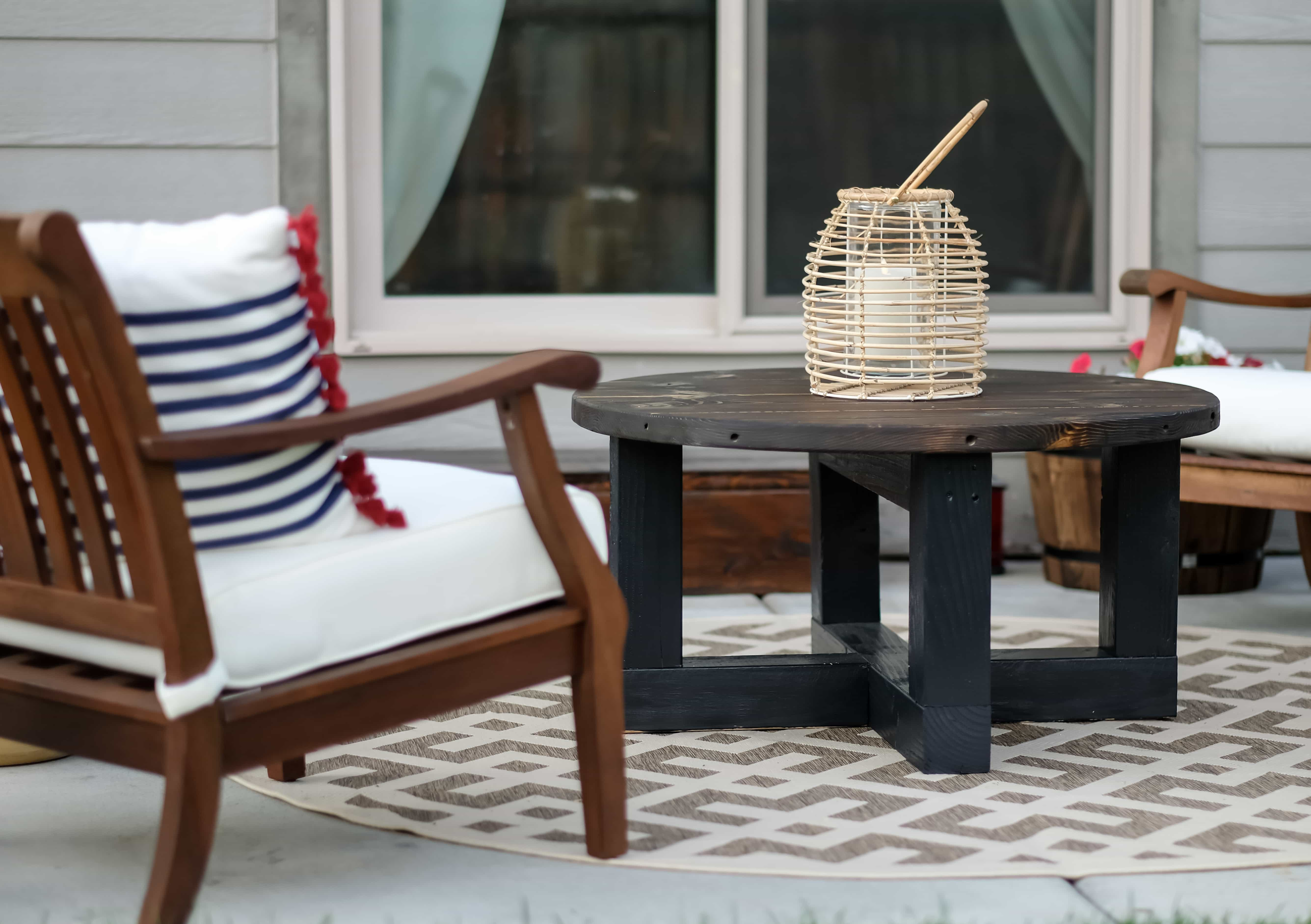 Small Patio with rustic coffee table