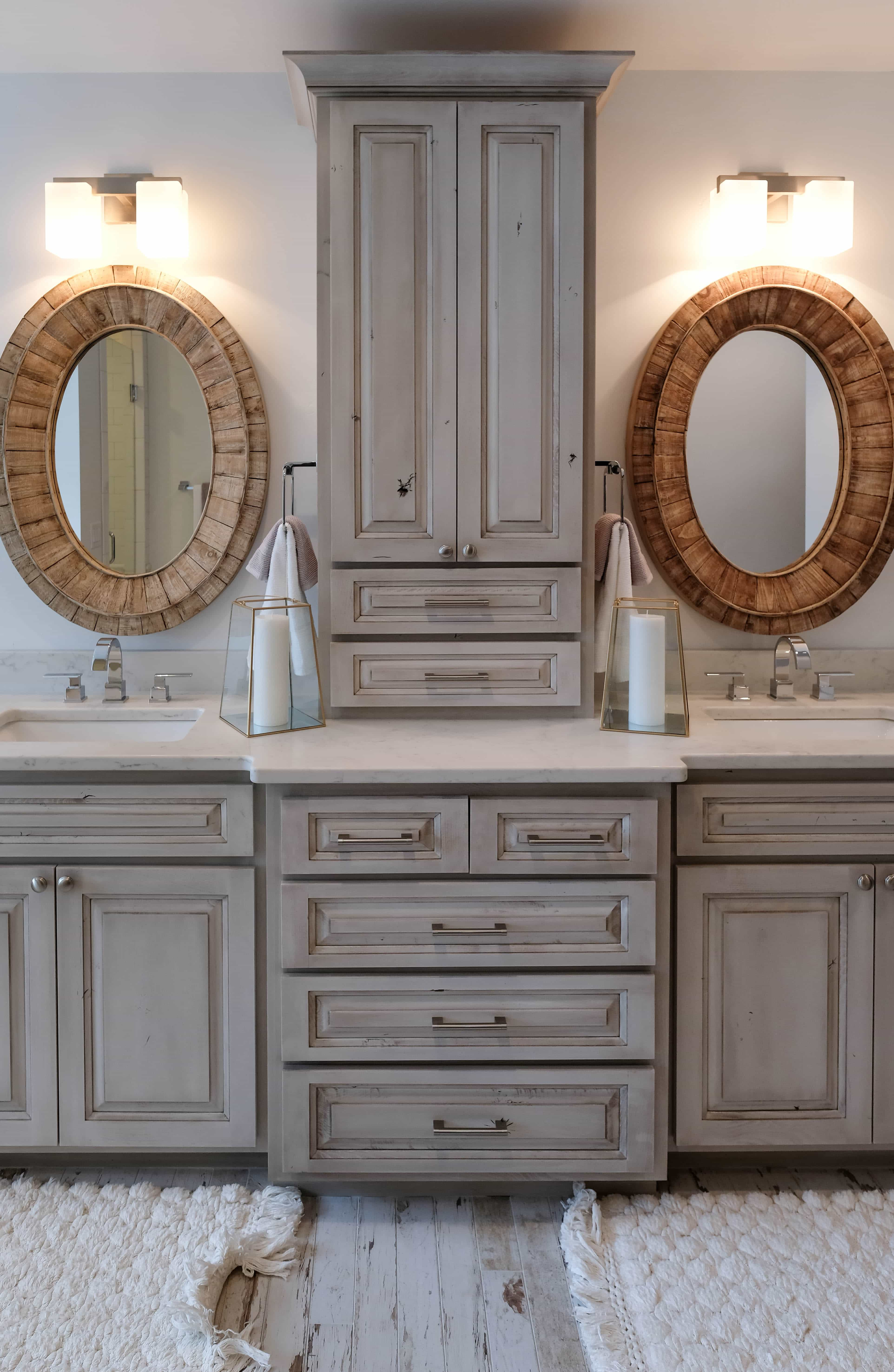 Parade of Homes master bathroom with modern rustic cabinets
