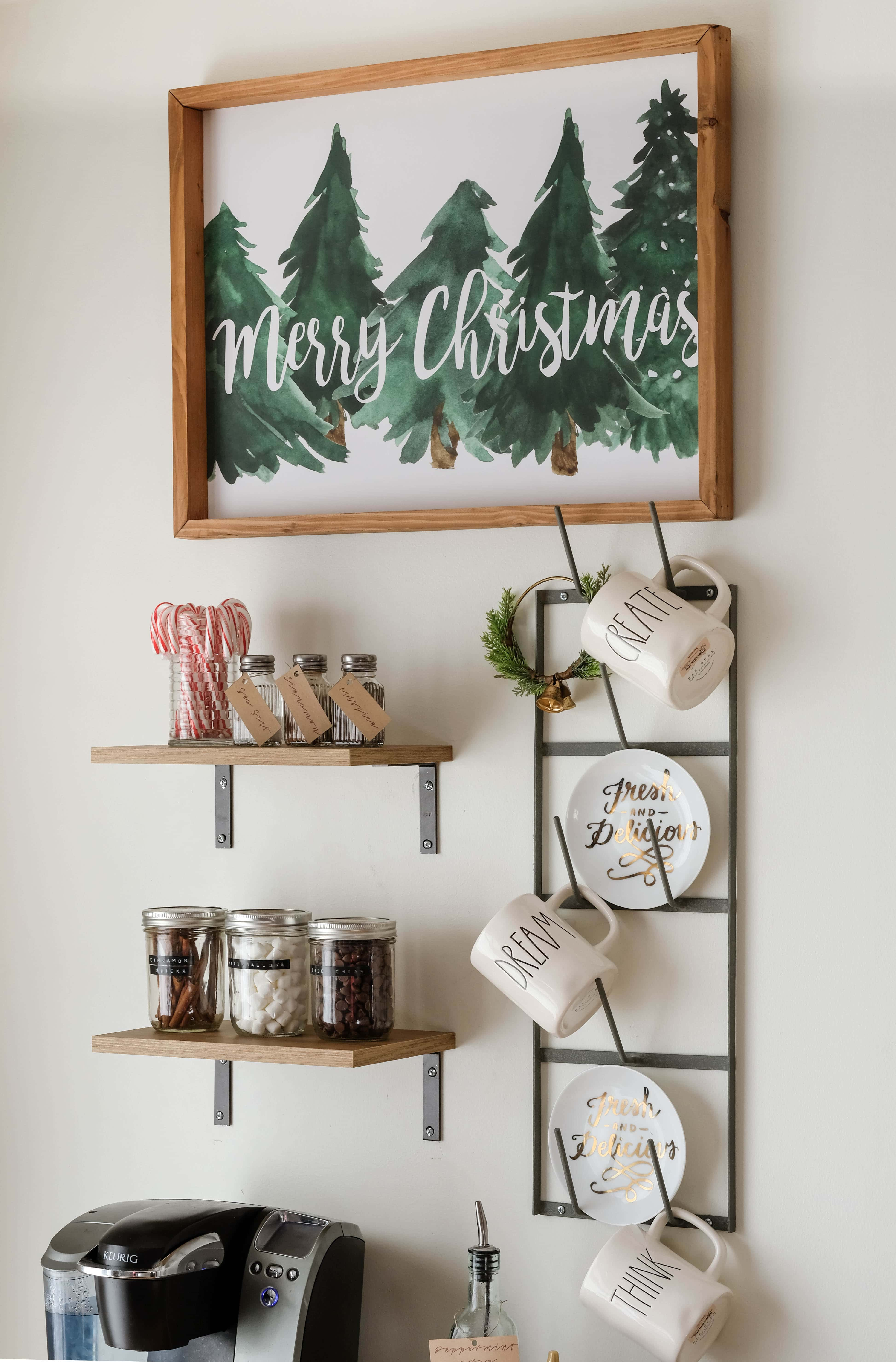 DIY Coffee/Hot Cocoa Bar + Homemade Peppermint Syrup I See how to create a simple coffee bar out of a bookcase I The best hot cocoa toppings for your hot cocoa bar!