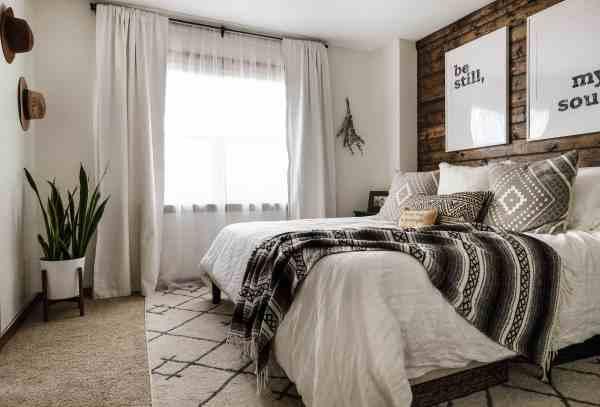 modern rustic bedroom Modern Rustic Bedroom Reveal + Tips on Blending Two Styles
