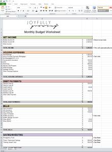 Budget Worksheet FREE DOWNLOAD