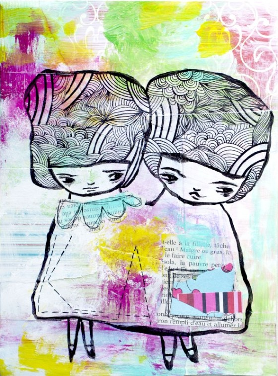 Two Of Us - Original Mixed Media Painting