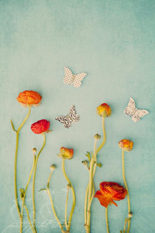 Paper Butterflies in a Ranunculus Garden by Susan Lussier O'Connor
