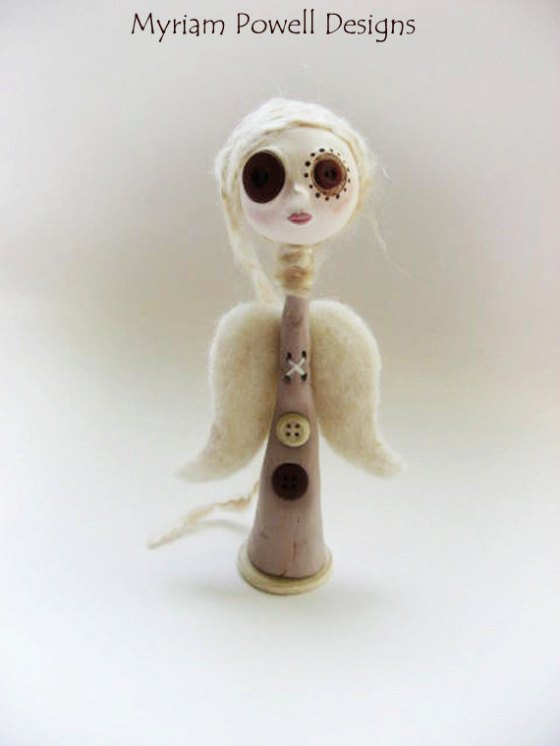 Angel Art Doll - Paper Clay Sculpted - Button Eyed Doll - Myriam Powell