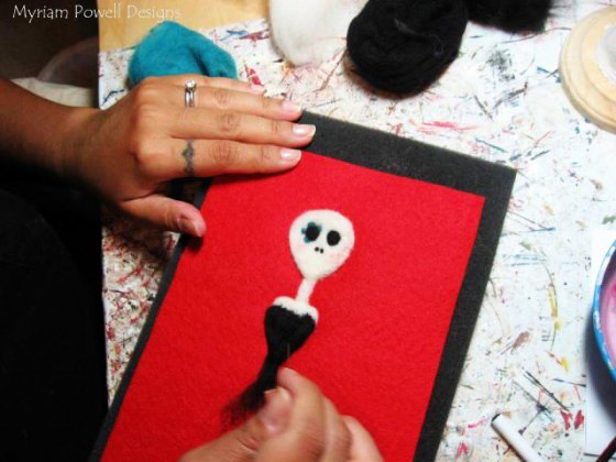 Myriam Powell Working On A Felted Art Piece