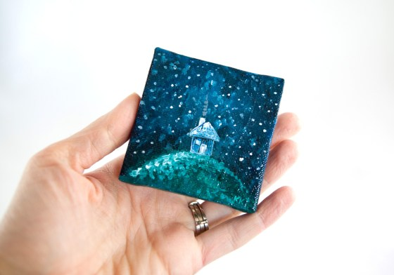 Miniature Canvas Paintings Winter Snow Wonderland Scenes Cottage House Pine Tree Blue White Green Night Sky Bisbee Arizona Illustrator Artist Kimberly Kling