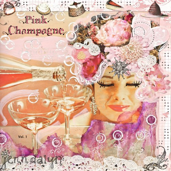 Pink champagne girly art - 8 x 8 PRINT pink flowers mixed media