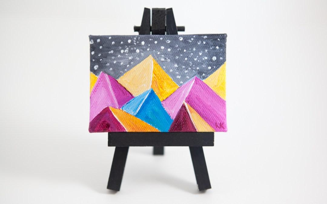Kimberly Kling Joyful Art Mini Canvas Colorful Pink Yellow Blue Snow Gray Whimsical