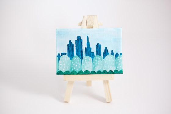 Fantasy City Tiny Small Land Trees Green Teal Blue Joyful Miniature Painting Mini Canvas - Original Painting by Kimberly Kling