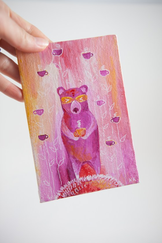 Pink Bear Totem With Coffee Mugs, Miniature Painting, Whimsical Art, Children's Animal, Girl - Original Mini Painting by Kimberly Kling