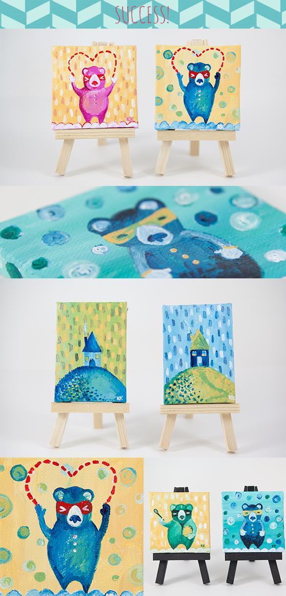 the big MiNI ART MARATHON by Kimberly Kling, Success! Whimsical Animal and Magical Art