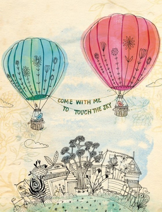 touch the sky art print - Sweet William illustration on archival paper hot air balloons