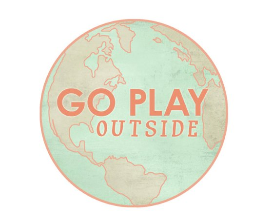 Go Play Outside graphic print / wanderlust coral and mint / globe travel map vintage